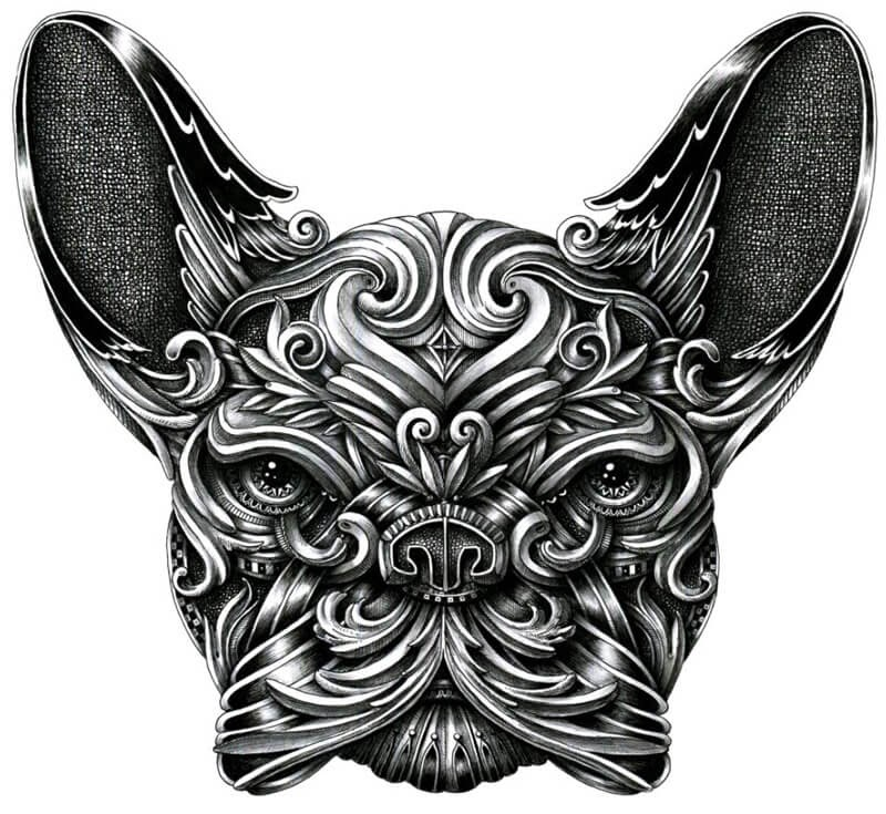 01-French-Bulldog-Frenchie-Alex-Konahin-Super-Detailed-Ink-Animal-Drawings-www-designstack-co