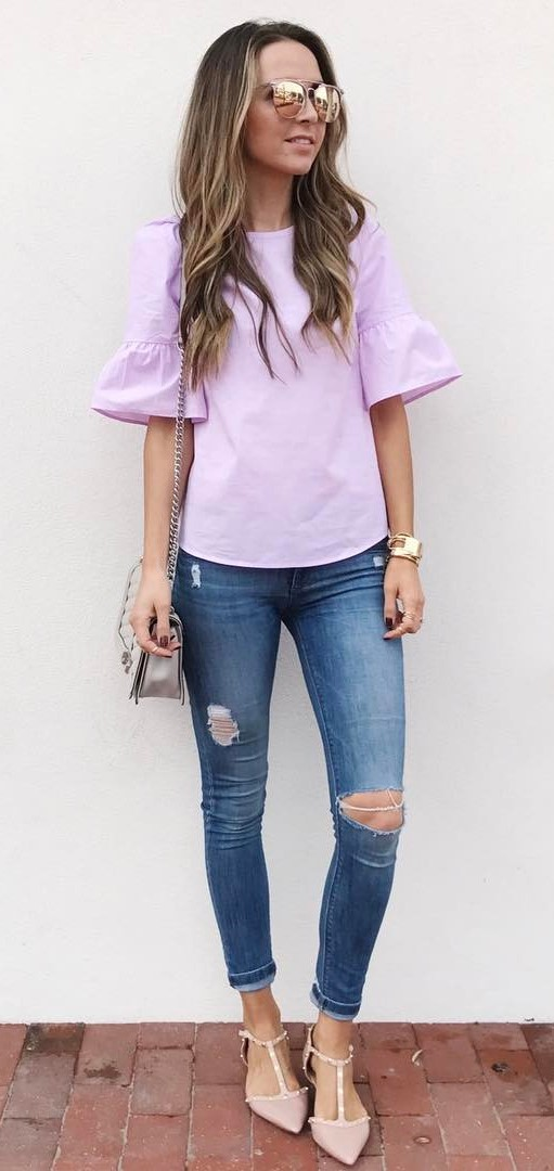 fashionable outfit: top + rips