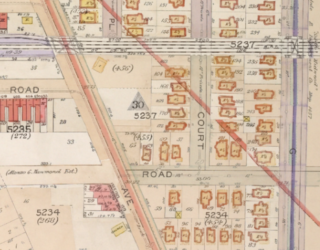 same 1906 map larger view the red diagonal line represented the boundary line separating flatlands flatbush gravesend and new utrecht