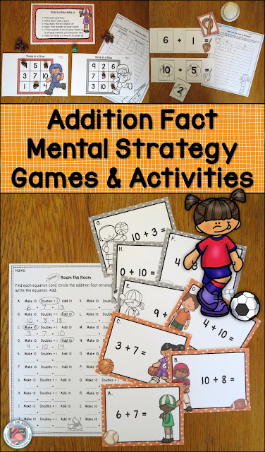 This sports themed resource includes a variety of games and activities designed to reinforce basic addition fact strategies with first and second graders. These are a perfect complement to my other addition fact strategy resources. $