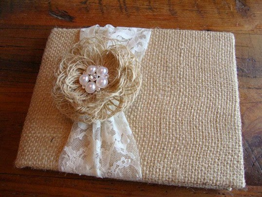 fall Rustic Burlap wedding Guest Book with Lace flowers Pearl