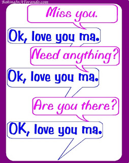 Love You Ma, a humorous look at texting with college students | Graphic by www.BakingInATornado.com | #parenting #funny #MyGraphics