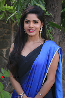 Actress Divya Bharthi Stills IN Blue Saree at Mupparimanam Press Meet Stills  0001.jpg
