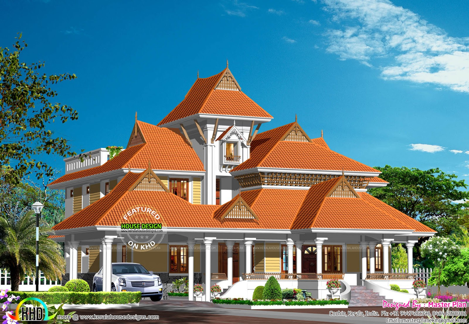Kerala traditional luxury home plan kerala home design for Luxury traditional homes