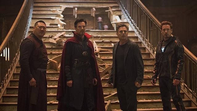 "Benedict Wong, Benedict Cumberbatch, Mark Ruffalo, and Robert Downey Jr. in ""Avengers: Infinity War"""