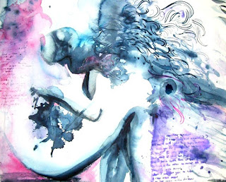 """Detail of """"Fool"""" - Watercolor, Ink - by Johnny Perez, 2010"""