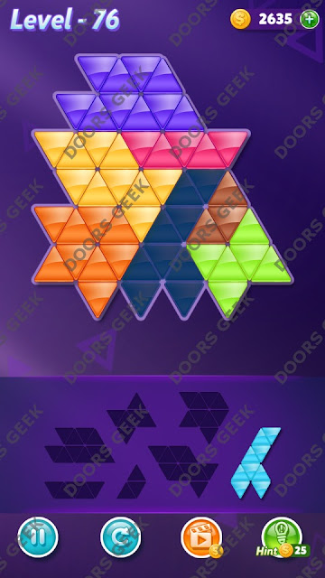 Block! Triangle Puzzle 7 Mania Level 76 Solution, Cheats, Walkthrough for Android, iPhone, iPad and iPod