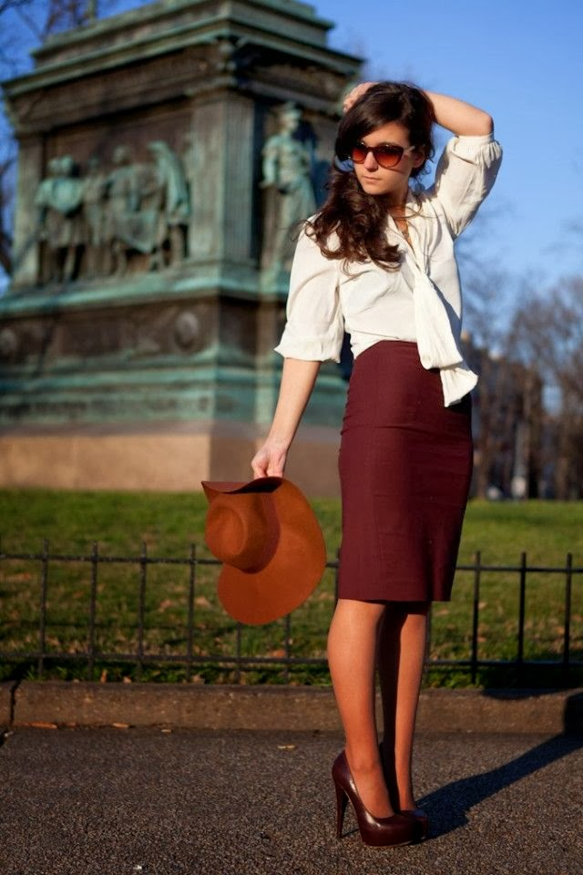 Burgundy Skirt and White Tie Blouse , & the most flattering of hemlines