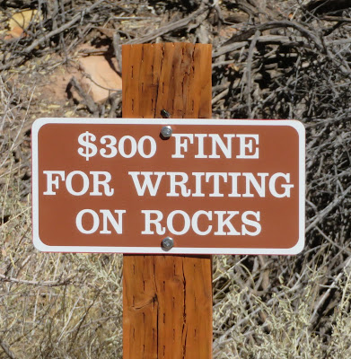 $300 fine for writing on rocks.