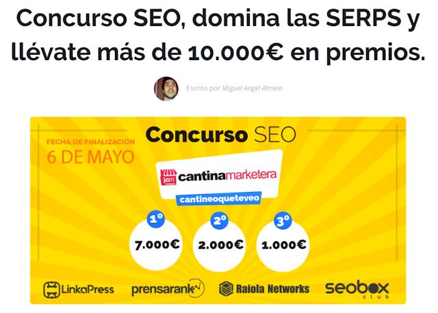 Concurso de posicionamiento web cantineoqueteveo organizado por la Cantina Marketera