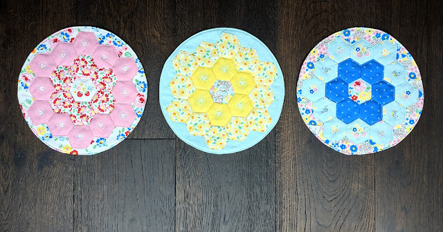 Elea Lutz's Bluebirds on Roses EPP Hexagon Breakfast Placemats sewn by Heidi Staples of Fabric Mutt for Riley Blake Designs