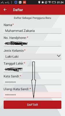 cara mengisi pendaftaran di aplikasi Roli Telkomsel