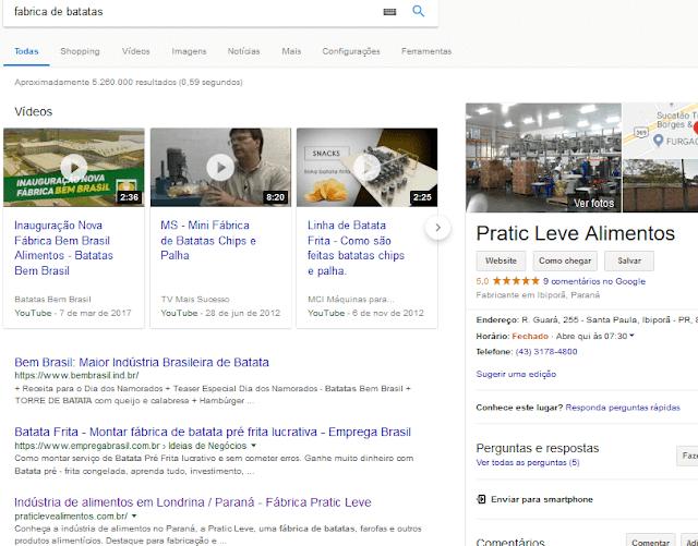 Exemplo de resultado com marketing digital para indústria de alimentos - otimização orgânica