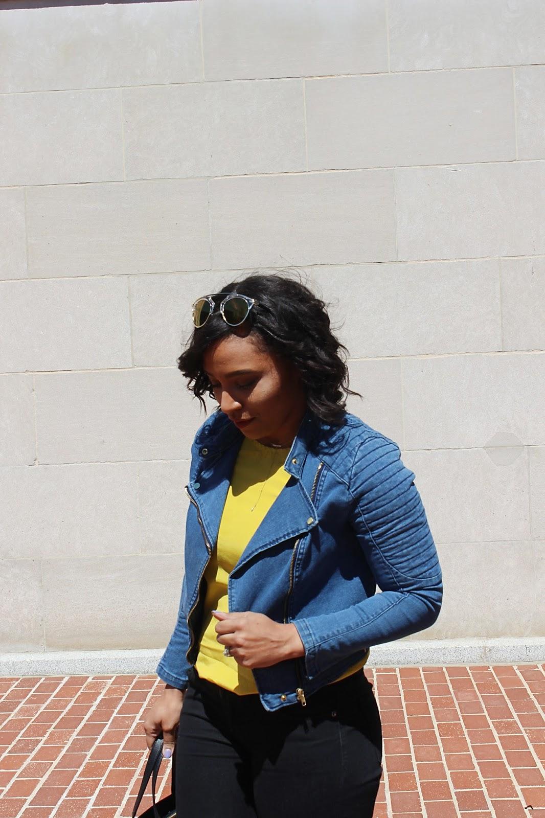 motto jacket, denim jacket, spring looks, single strap heels