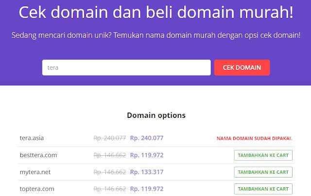 Pencarian domain di https://www.hostinger.co.id