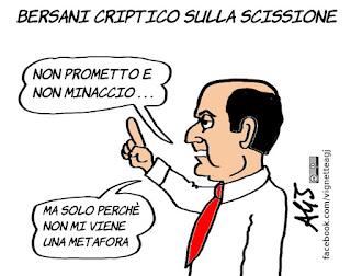 Bersani, D'Alema, minoranza PD, scissione, PD, metafore, vignetta, satira