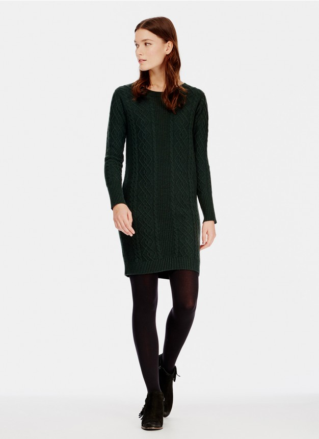 Brora Green Cashmere Aran Knit Dress