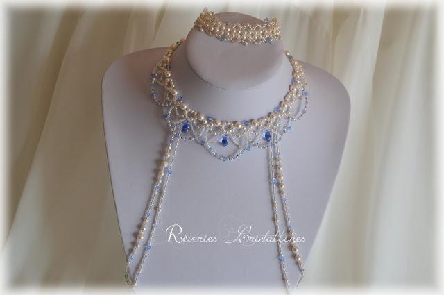 parure mariée romantique avec cascade de perles