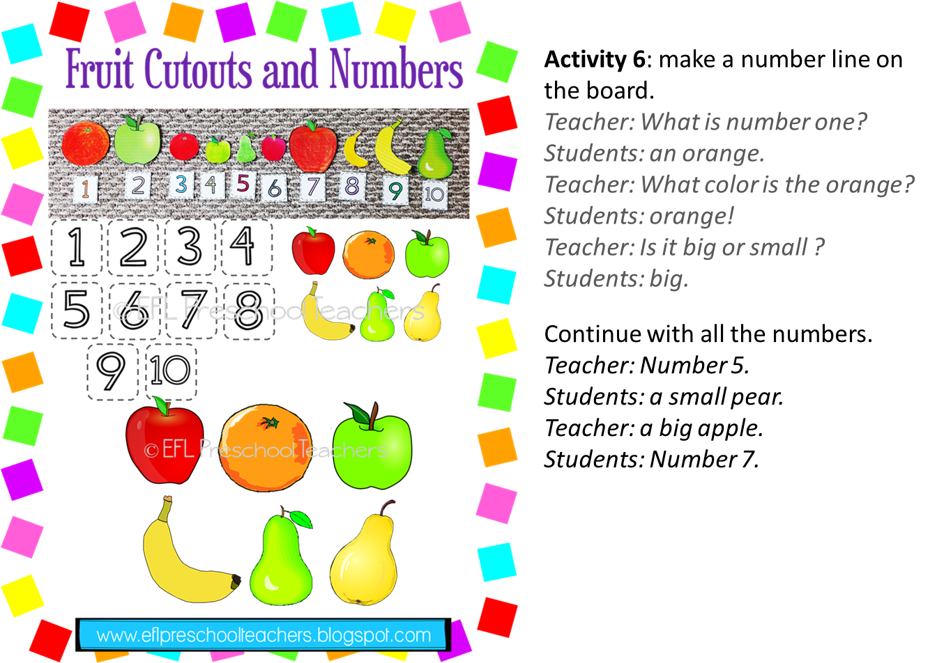 Esl Efl Preschool Teachers Fruit Theme For The Preschool Ell