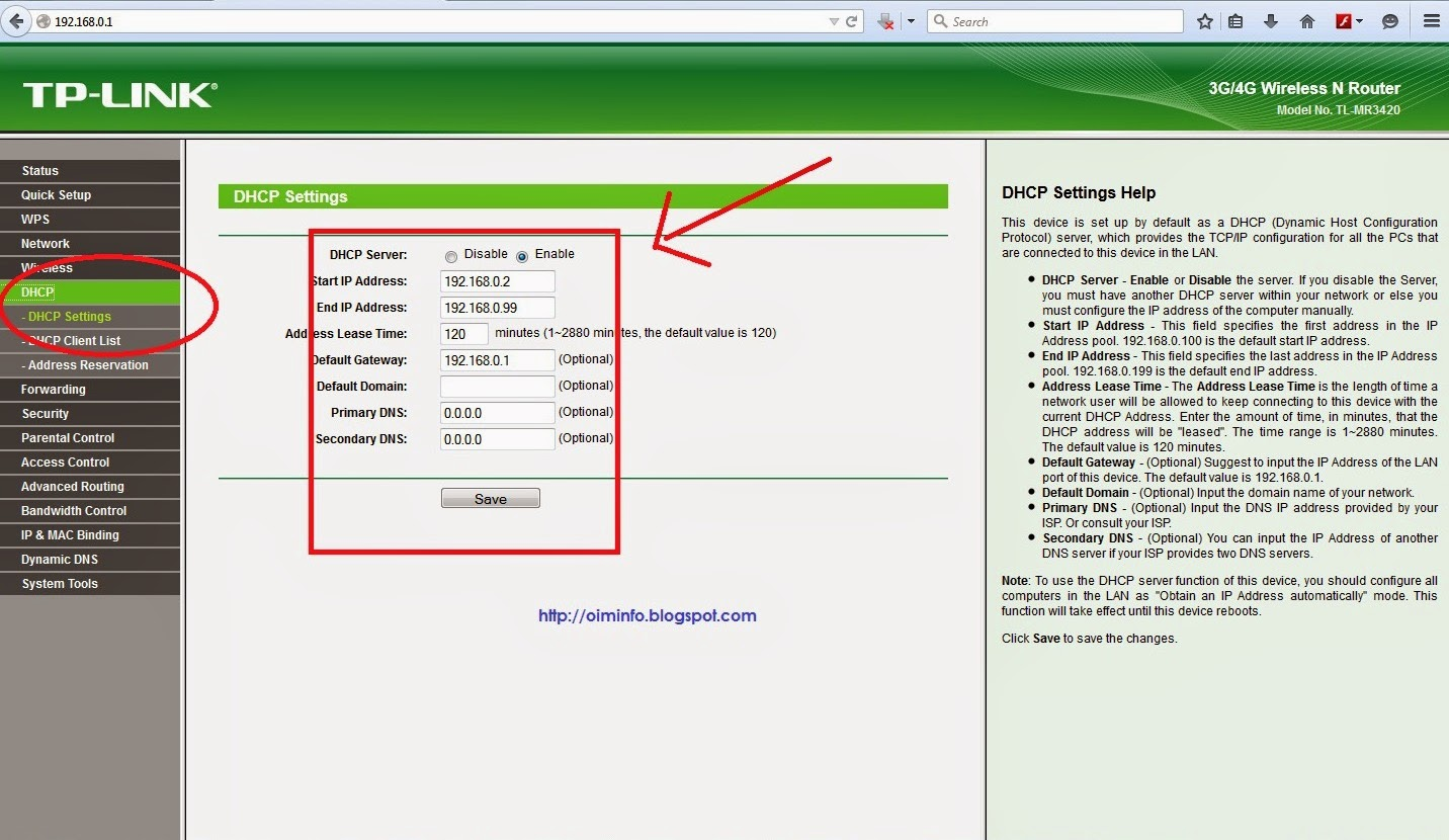 Setting DHCP pada TP-Link