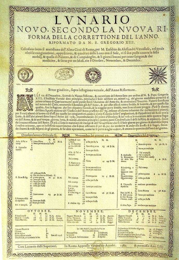 first printed editions of the Gregorian calendar