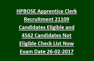 HPBOSE Apprentice Clerk Recruitment 21109 Candidates Eligible and 4562 Candidates Not Eligible Check List Now Exam Date 26-02-2017