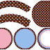 Pink and Light Blue Polka Dots in Chocolate: Free Printable Cupcake Toppers and Wrappers.