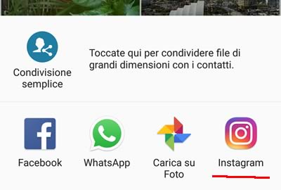 Condividi video su Instagram