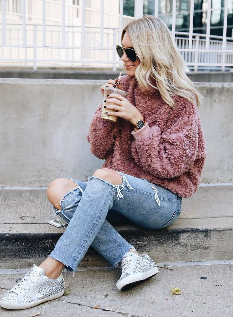 cozy fall outfit / fur sweater + ripped jeans + sparkly sneakers