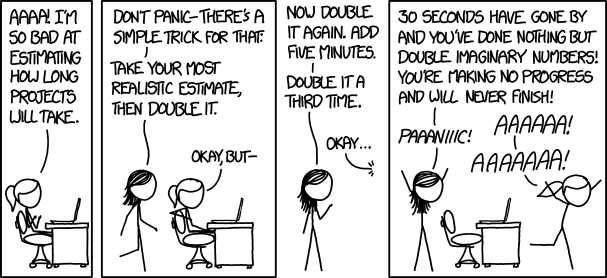 Corollary to Hofstadter's Law: Every minute you spend thinking about Hofstadter's Law is a minute you're NOT WORKING AND WILL NEVER FINISH! PAAAAAANIIIIIIC!