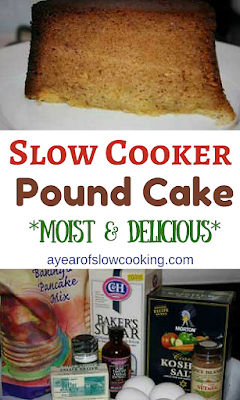 This is how you make a moist and delicious pound cake the easy way -- you put the whole thing into your crockpot! I love this super simple poundcake recipe. You can even use a gluten free baking mix instead of all purpose flour!