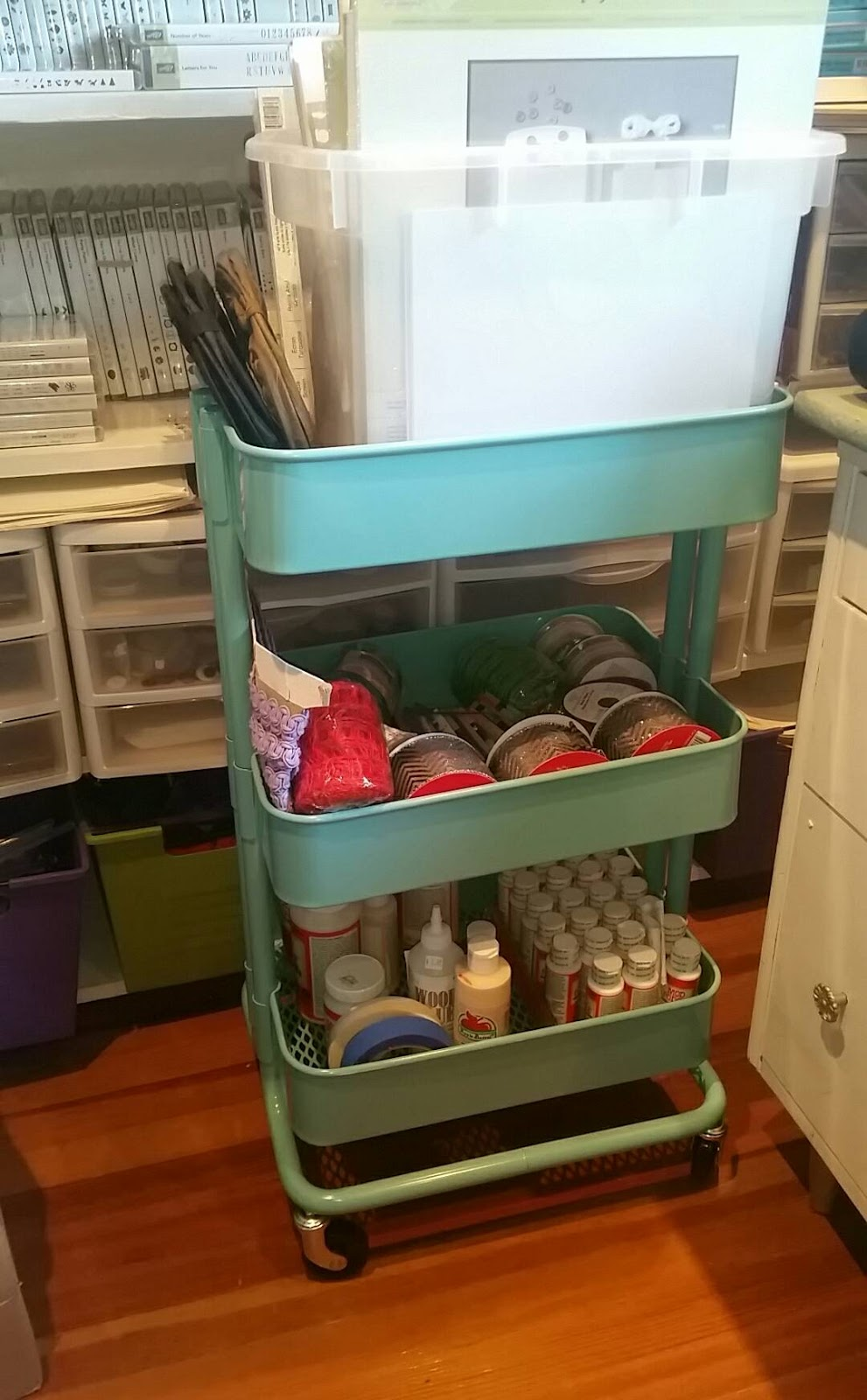 I love my ink pad storage rack from St&-n-Storage and the rolling metal cart from Ikea. It wonu0027t be long and it will be messy again! & Little Ink on the Prairie