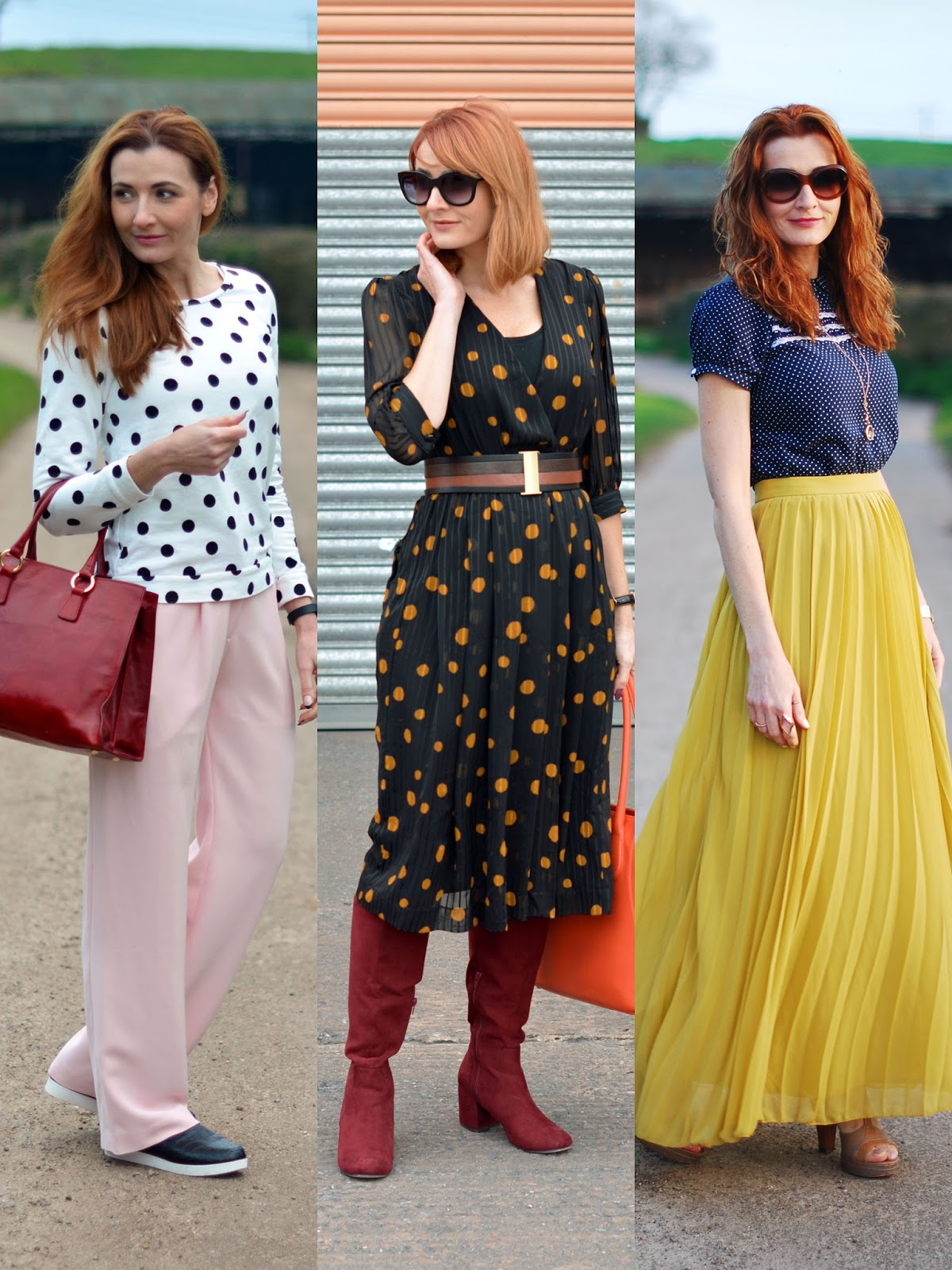 Great polka dots outfits: Not Dressed As Lamb, over 40 style