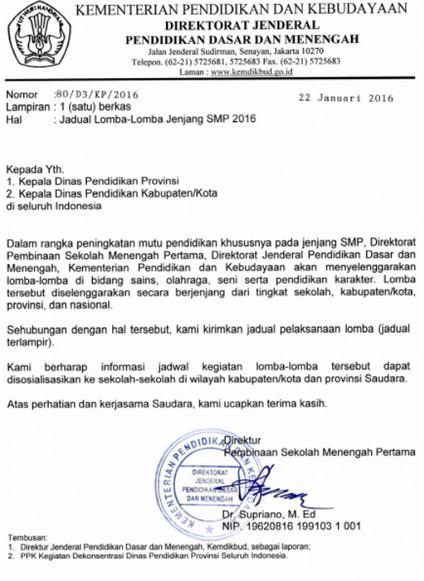 Jadual Lomba-Lomba Jenjang SMP 2016