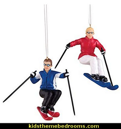 Downhill Ski   Christmas Ornaments Set