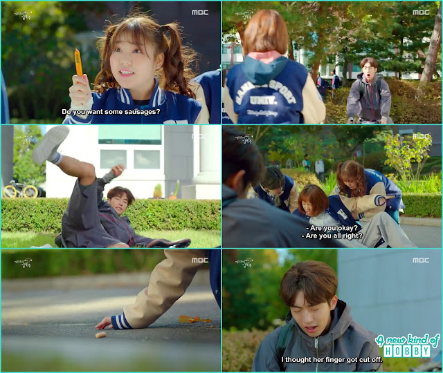 joon hyung while riding the bicycle accidentally hit Boj Joo & her friends suddenly he saw something like a finger on the ground and got scared her finger got cut off  - Weightlifting Fairy Kim Bok Joo - Episode 1 (Eng Sub)