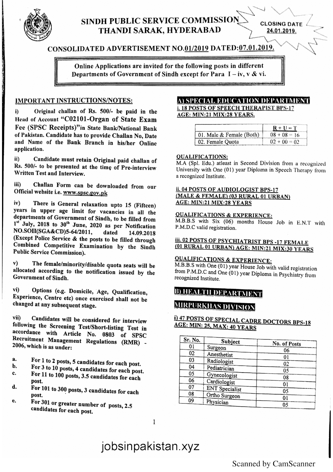 SPSC Advertisement 01/2019 Page No. 1/6