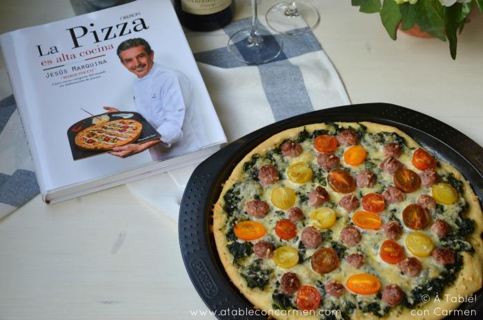 Pizza de Espinacas y Longaniza y La Pizza es Alta Cocina
