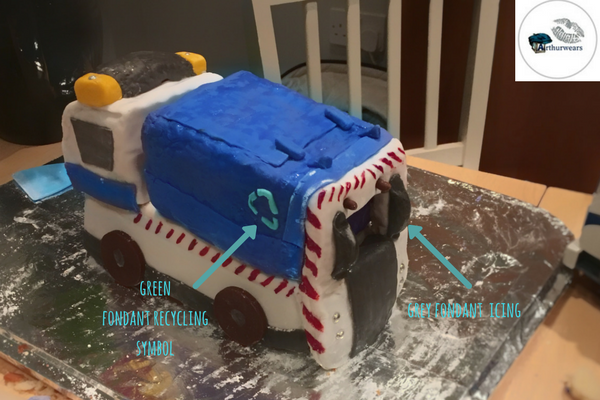 adding the recycling logo to make the blue bin lorry recycling garbage truck birthday cake