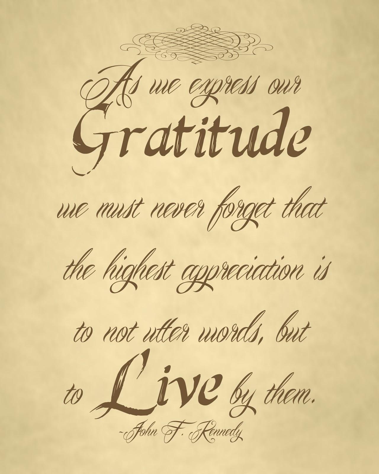 John F Kennedy Gratitude Quote: Autumn-Bennett: Gratitude Print 8x10