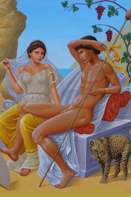 Dionysos, Ariane, thyrse, panthère, raisin, ivresse, pomme de pin,