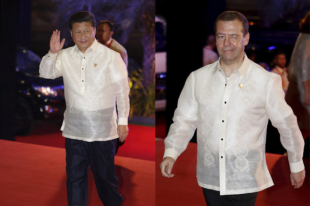 Chinese President Xi Jinping and Russian Prime Minister Dmitry Medvedev.