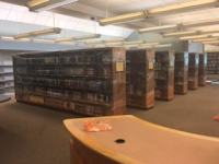 The shelves have been wrapped to keep materials from getting dusty during construction.