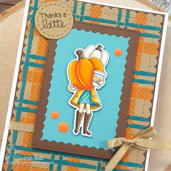 Thanks a Latte Card by Andrea Shell | Pumpkin Latte Stamp Set, Framework die set and Plaid Stencil Set by Newton's Nook Designs #newtonsnook #handmade