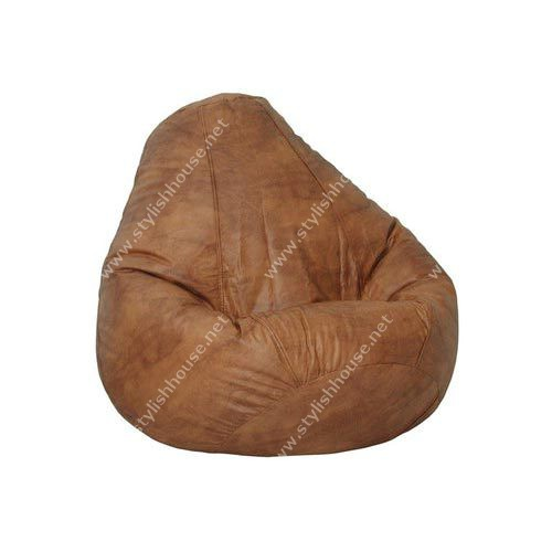 Brown artificial leather bean bag seat
