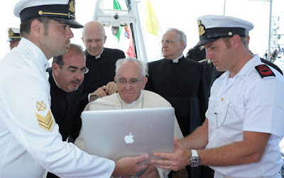 Pope Francis and laptop