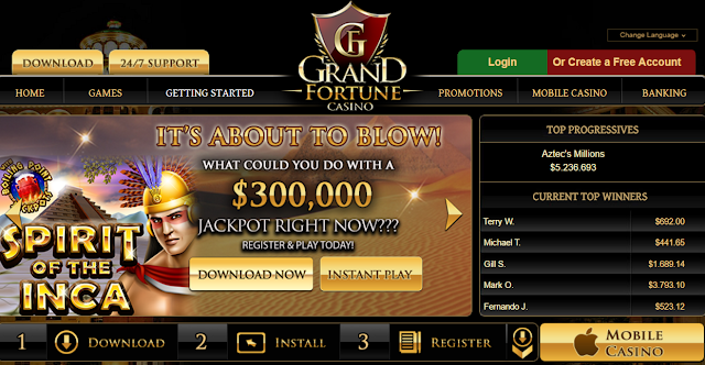 Play Spirit of the Inca progressive Jackpot Game at Grand Fortune Casino