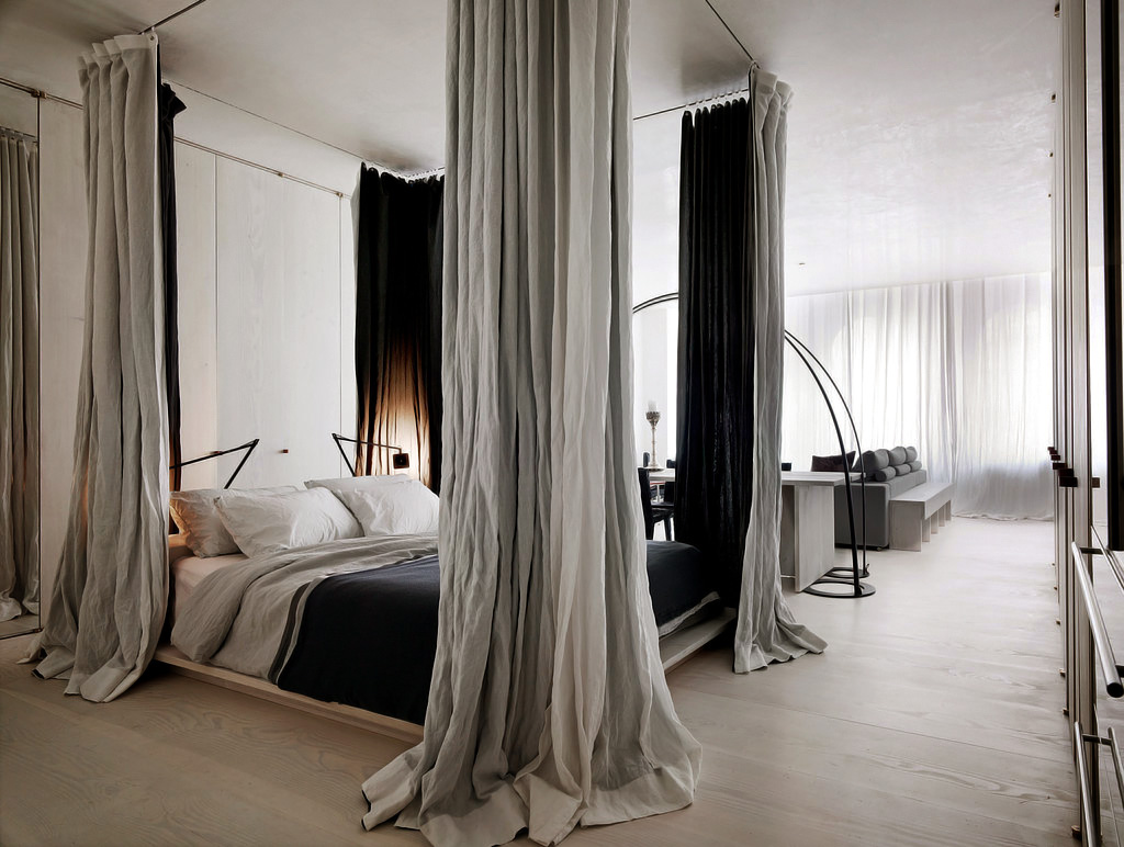 Decoraci n f cil separar ambientes con cortinas - Letto a baldacchino ikea ...