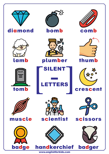Silent letters in English chart - page 1 of 5