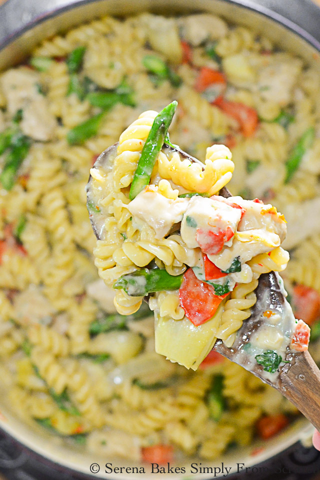 One Skillet Chicken Artichoke Asparagus Sun-dried Tomato Pasta is a delicious dinner time favorite.